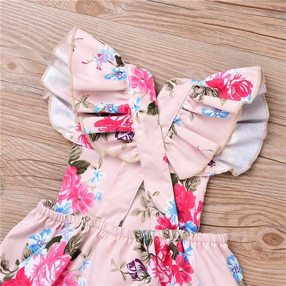 puseky Newborn Baby Girls Floral Romper Jumpsuit Sunsuit and Headband Outfits Set