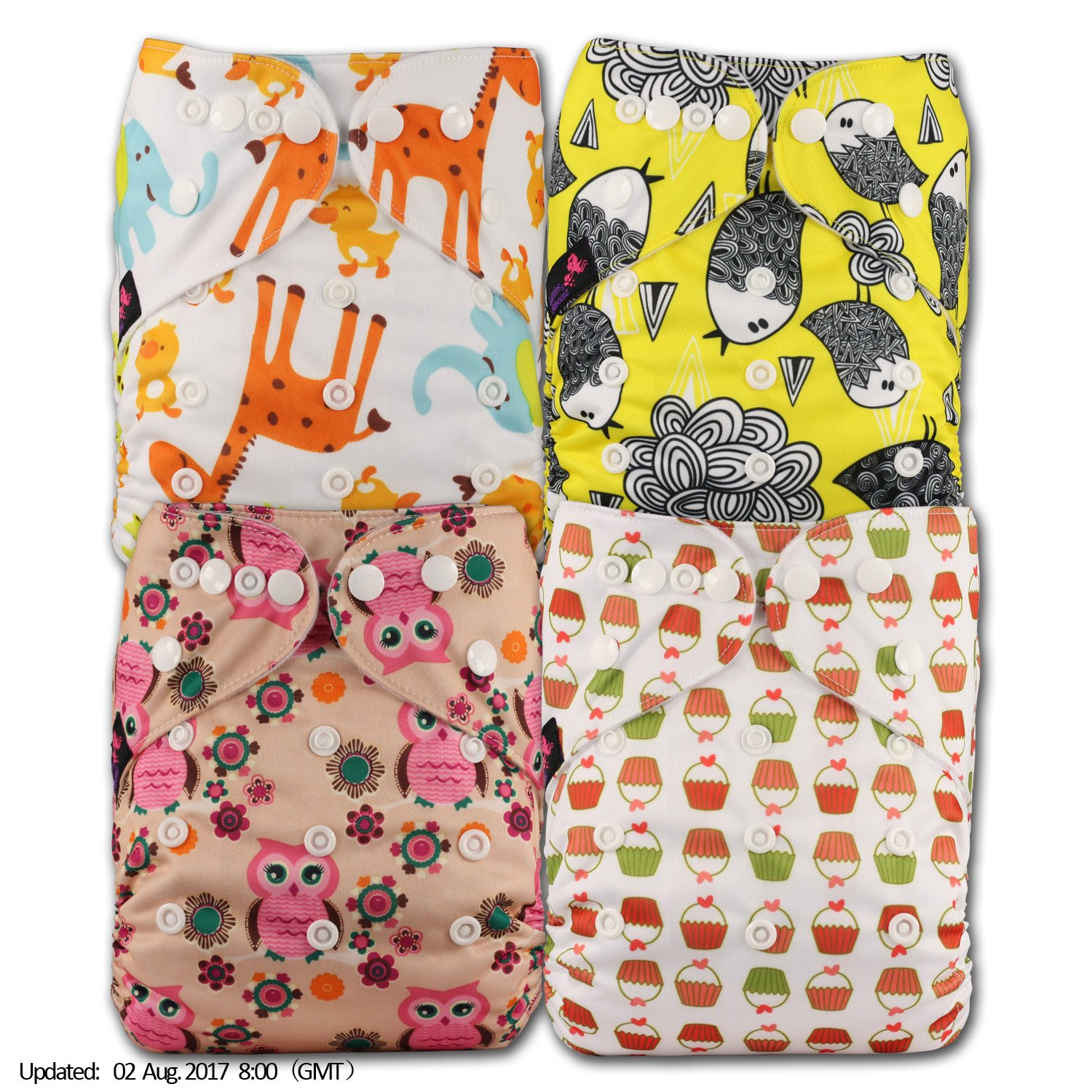 Littles & Bloomz, Reusable Pocket Cloth Nappy, Fastener: Popper, Set of 4, Patterns 413, With 4 Bamboo Inserts