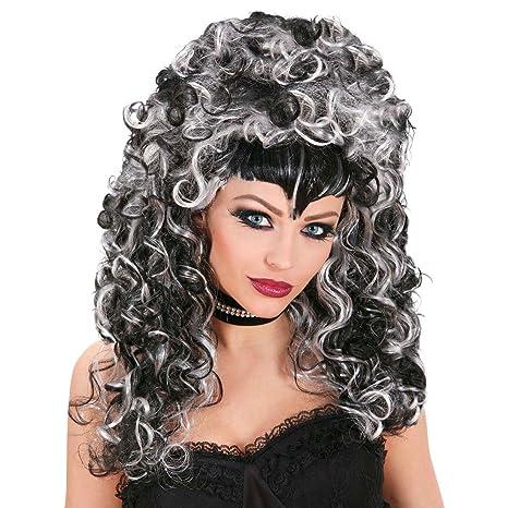 NET TOYS Parrucca da strega grigia nera capelli ricci lunghi neri grigi  bianchi vampira maga Halloween c30b60b86830