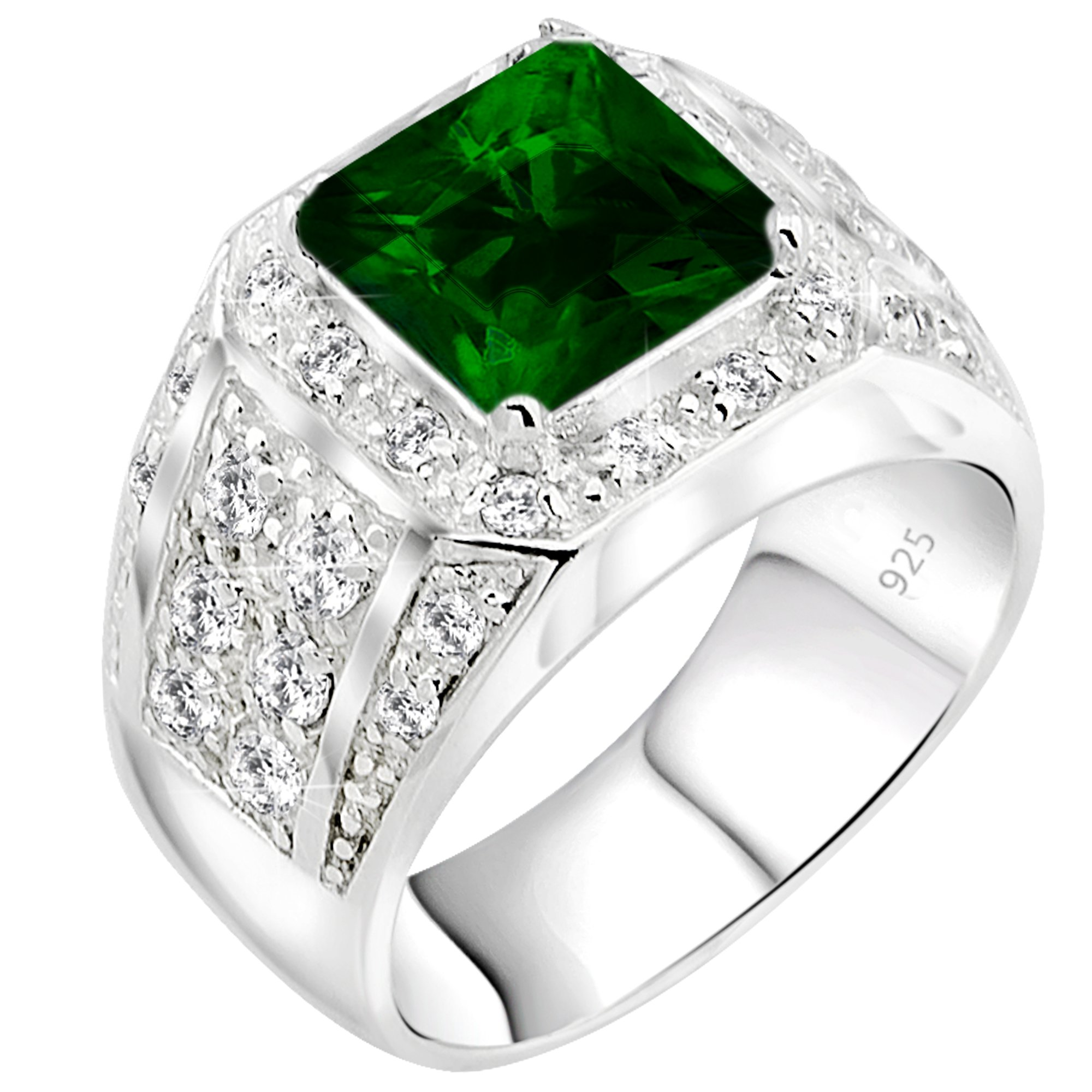 Men's Elegant Sterling Silver .925 Ring High Polish Princess Cut Featuring a Synthetic Green Emerald and 32 Fancy Round Cubic Zirconia (CZ) Stones