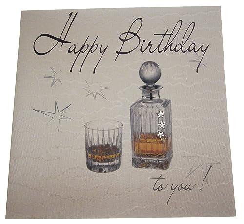 White Cotton Cards Handmade Mens Happy Birthday Card Whiskey White