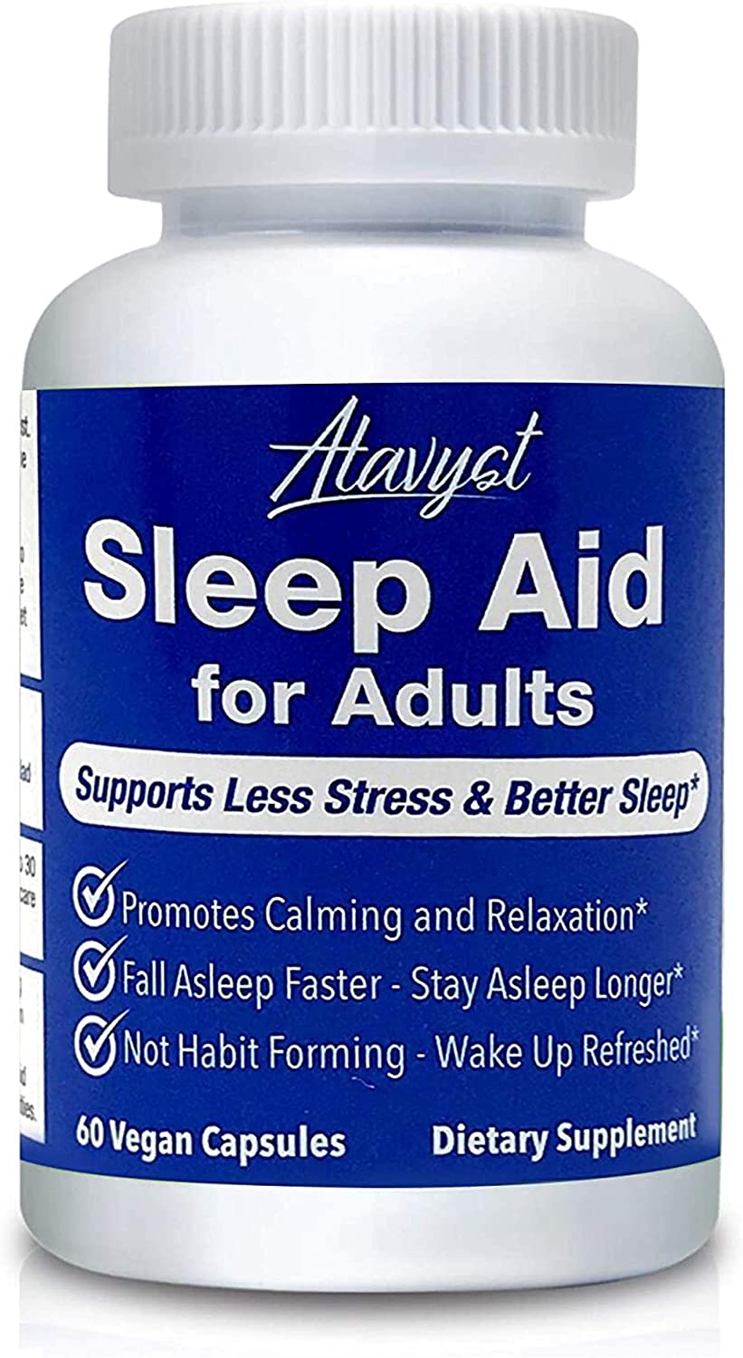 Atavyst Sleep Aid for Adults - Supports Relaxation, Calming and Sleep - Valerian Root, L-Theanine, Melatonin and GABA - Includes Extracts of Chamomile, Passion Flower, Lemon Balm and Hops: Health & Personal Care
