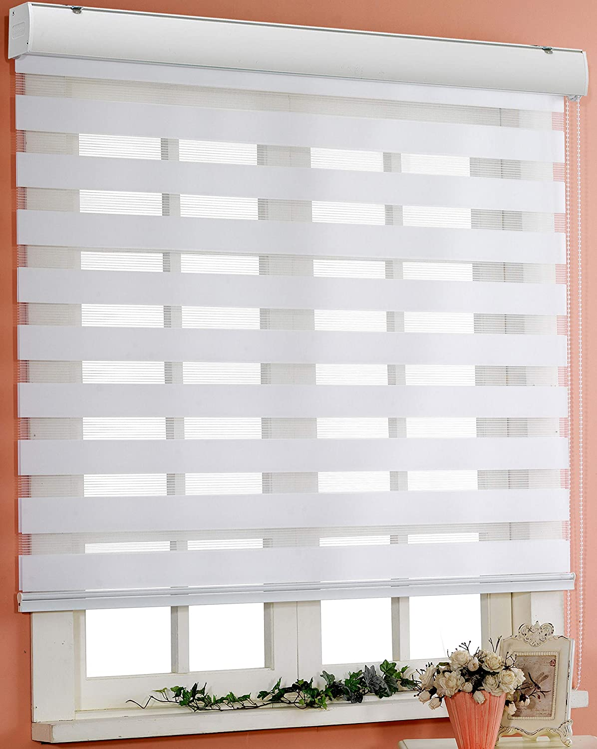 Custom Cut to Size, [Winsharp Basic, White, W 20 x H 64 inch] Horizontal Window Shade Blind Zebra Dual Roller Blinds Foiresoft