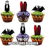 PRE-CUT Halloween Vampire Mix - Edible Cupcake Toppers / Cake Decorations (Pack of 12)
