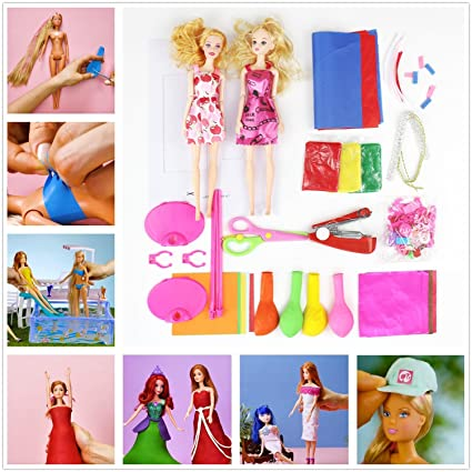 6566e4beca3 Image Unavailable. Image not available for. Color: Moonideal Life Hack Doll  Dresses with Balloons Making Easy Clothes for Barbies ...