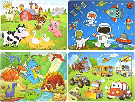 Wooden Jigsaw Puzzles Toy Set of 4 Theme Animals Kids Puzzles Age 3-8 Farm and Space Dinosaur 60 Piece Puzzles Preschool Educational Learning Toys for Toddlers