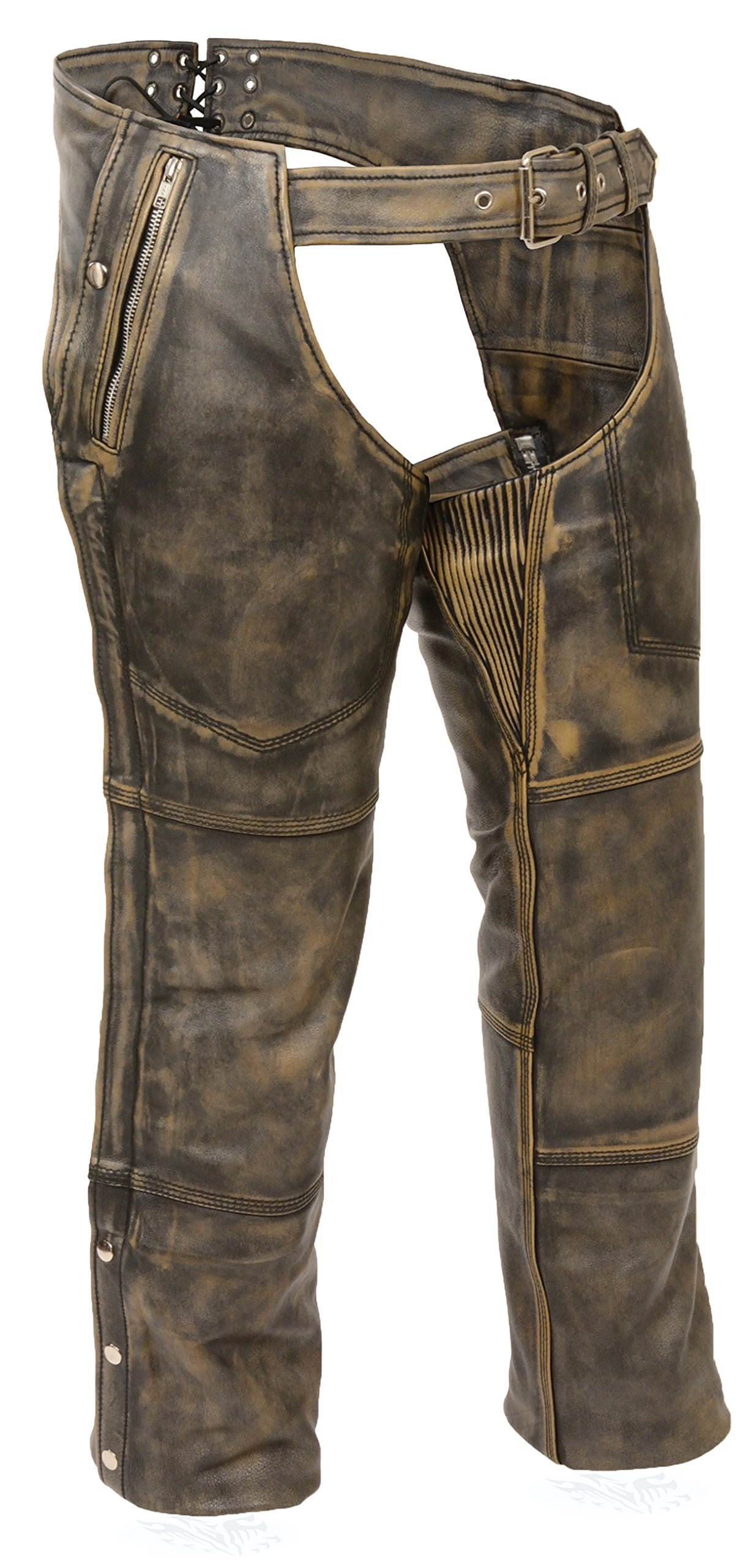 BROWN DISTRESSED LEATHER BIKER CHAPS 5X