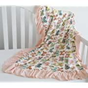 Sahaler Floral Minky Blanket Baby Girl Dot Ruffle Blankets Infants Toddlers Girl's Soft Throw Comfortable, Perfect Gift (Peach Butterfly)