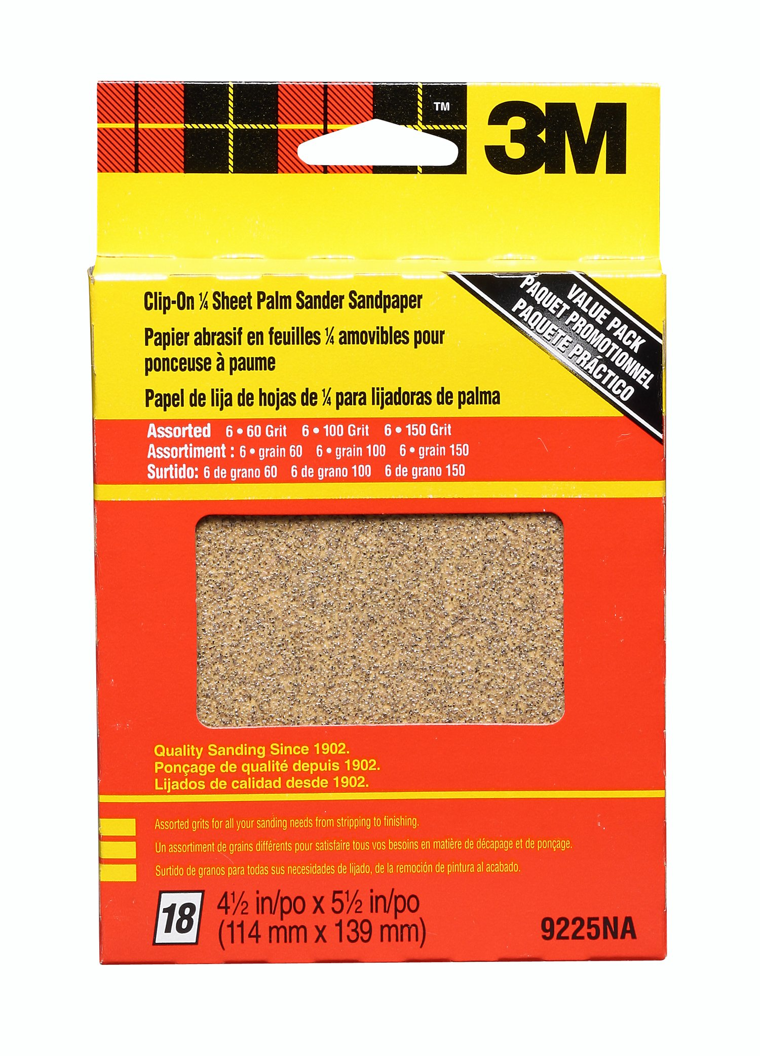 3M 9225NA 4.5-Inch by 5.5-Inch Clip-On Palm Sander Sheets, Asst. Grit, 18-pack by 3M