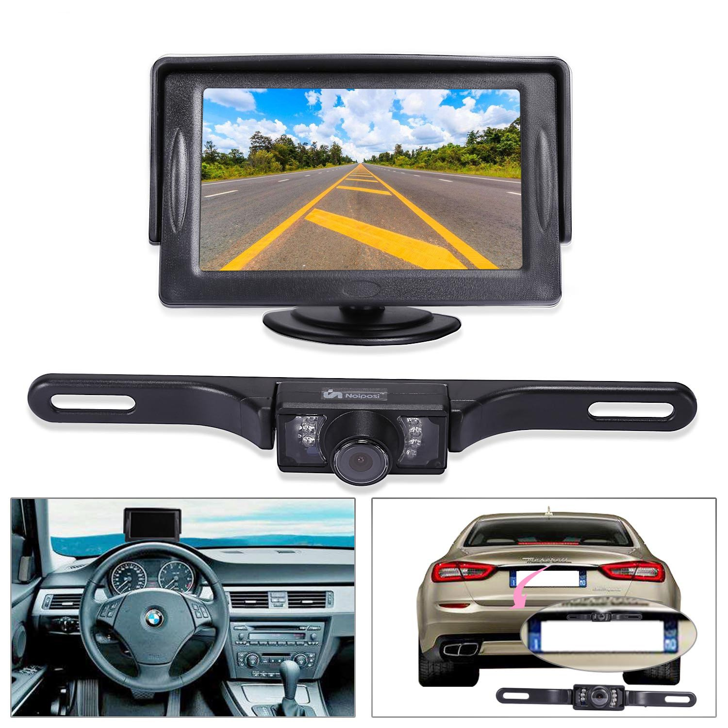 Noiposi Backup Camera And Monitor Kit For Car Universal Plcm7200 Wiring Diagram Waterproof Night Vision Linsence Plate Rear View 43 Tft Lcd