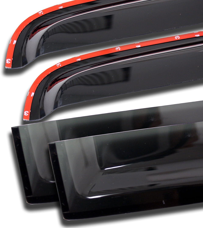 Tuningpros WD2-144i In-Channel Window Visor Deflector Rain Guard Dark Smoke 4 Pcs Set Compatible With 1992-2006 Ford E-150 E-250 Econoline