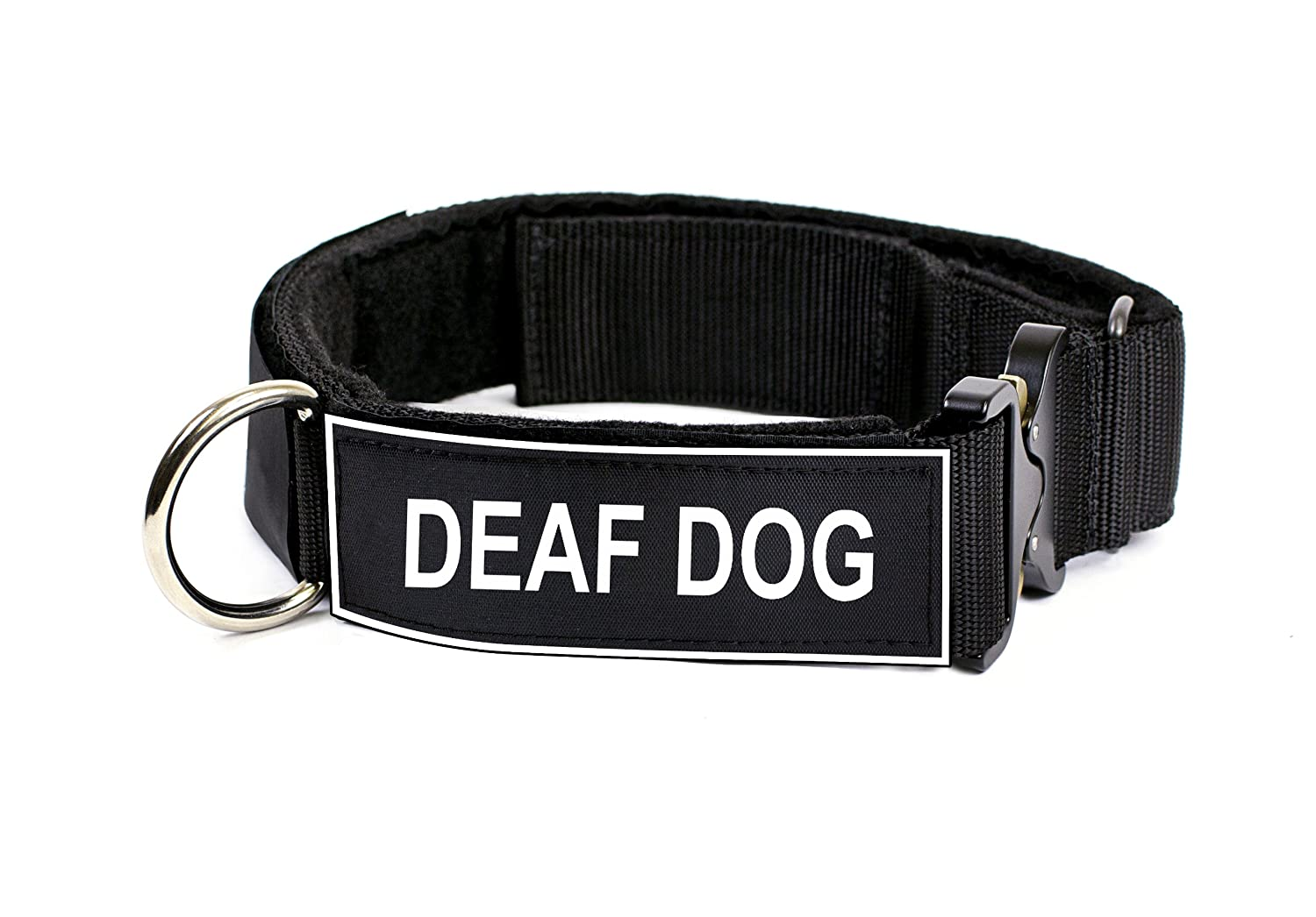 Dean & Tyler 21 to 26-Inch Strong Nylon Cobra Patch Collar with Felt Padding, Deaf Dog Patches, Medium, Black