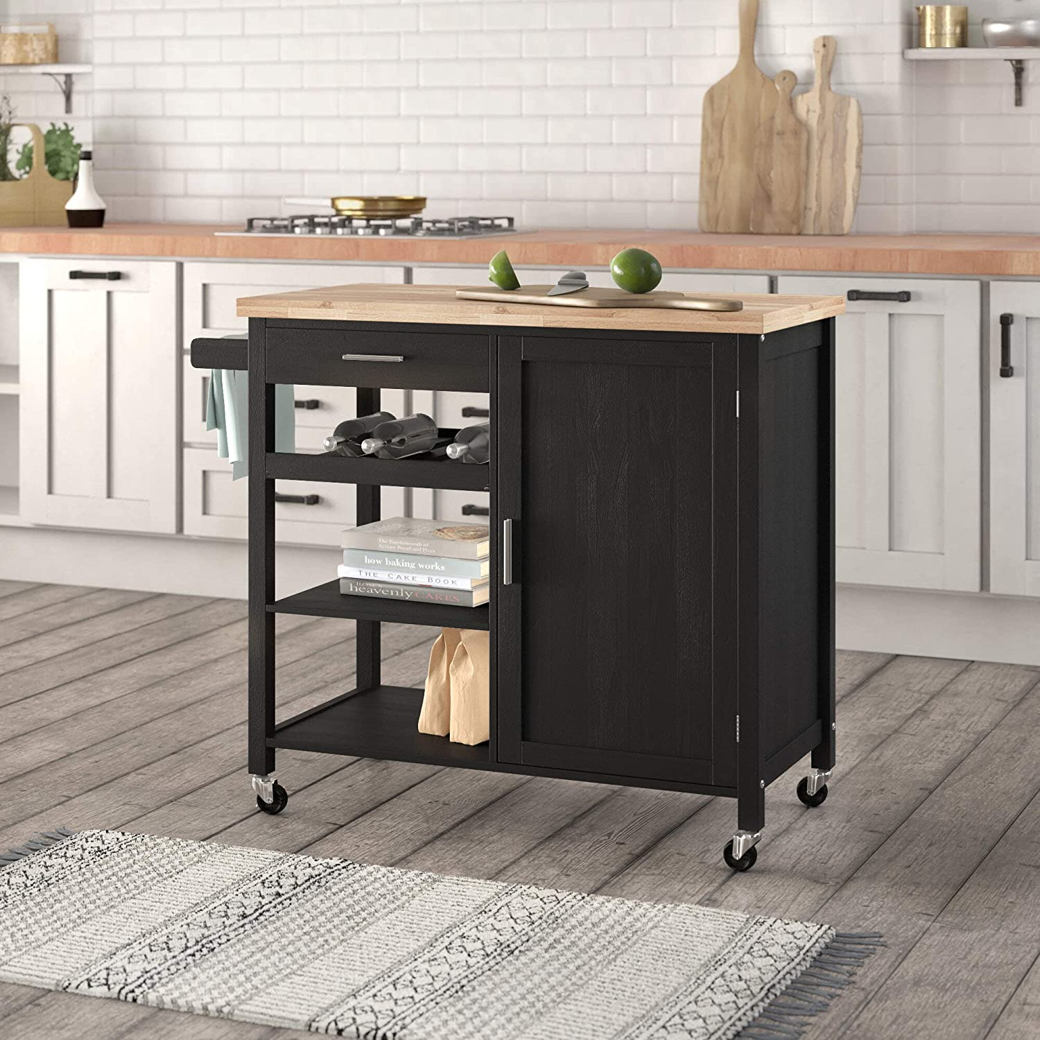 Belleze Wood Top Multi Storage Cabinet Rolling Kitchen Island Table Cart With Wheels Black Amazon Co Uk Diy Tools