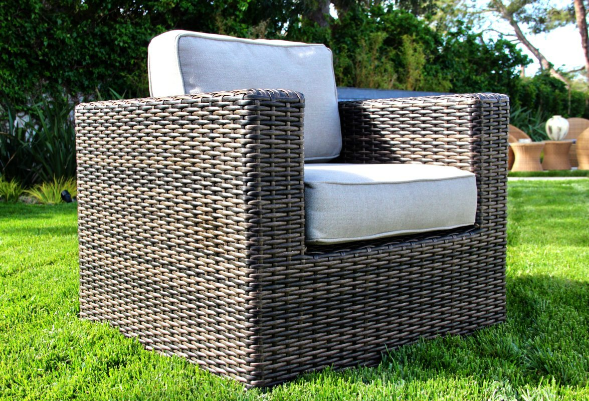 Living Source International Patio Sofa Couch Garden, Backyard, Porch or Pool All-Weather Wicker with Thick Cushions