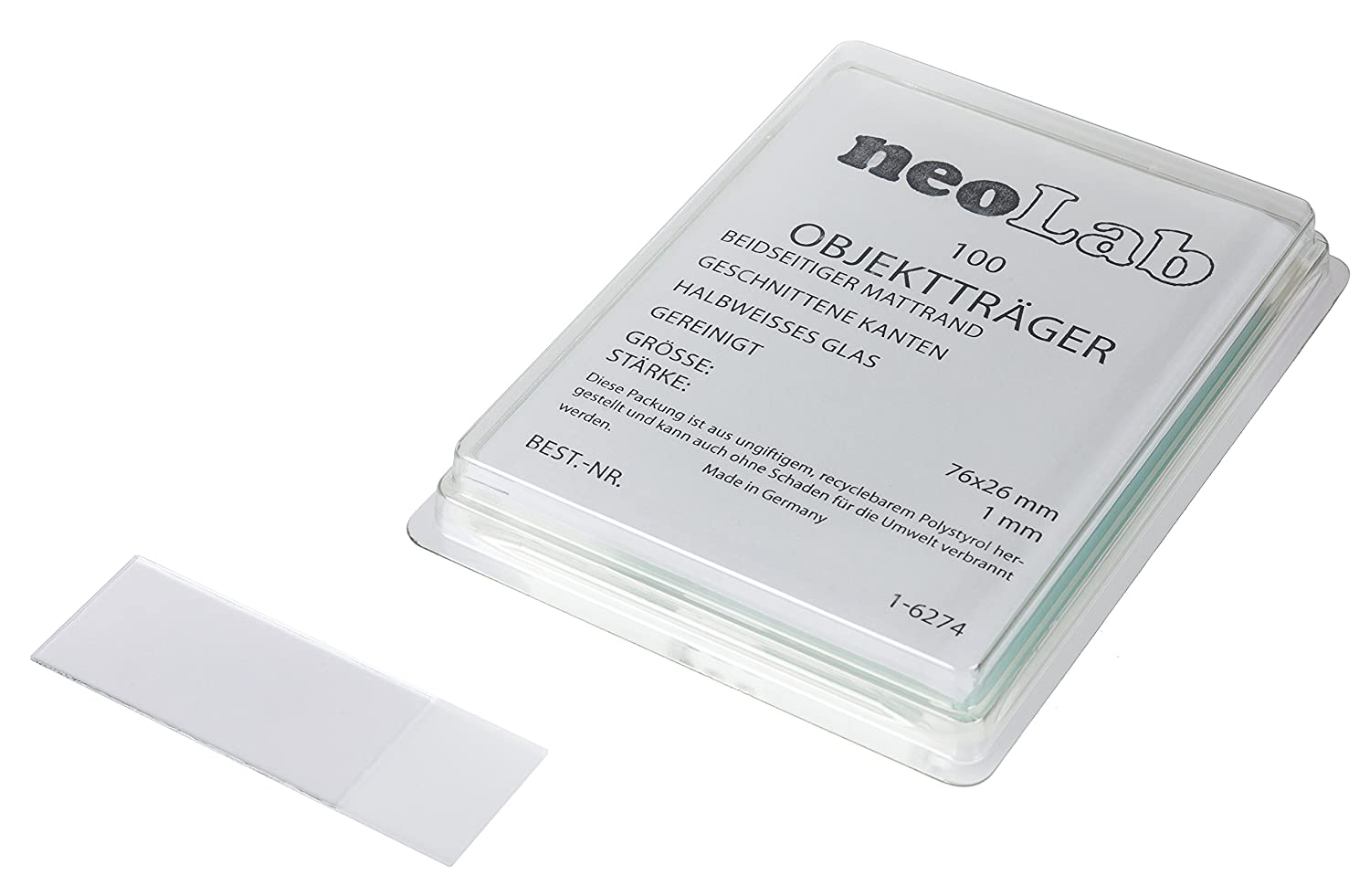 Neolab 1 6274 Slides with Matte Edge Edge Cut, 76 mm x 26 mm White (Pack of 100) 76mm x 26mm White (Pack of 100) 1-6274