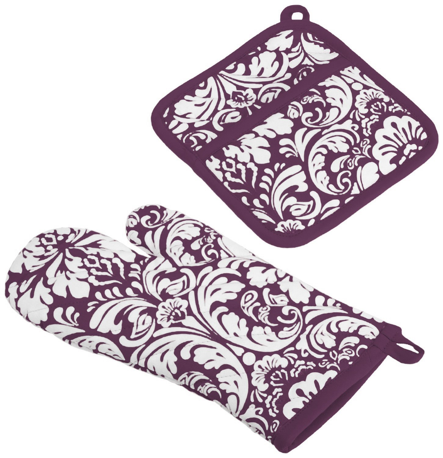 "DII Cotton Damask Oven Mitt 12 x 6.5"" and Pot Holder 8.5 x 8"" Kitchen Gift Set, Machine Washable and Heat Resistant for Cooking and Baking-Eggplant"