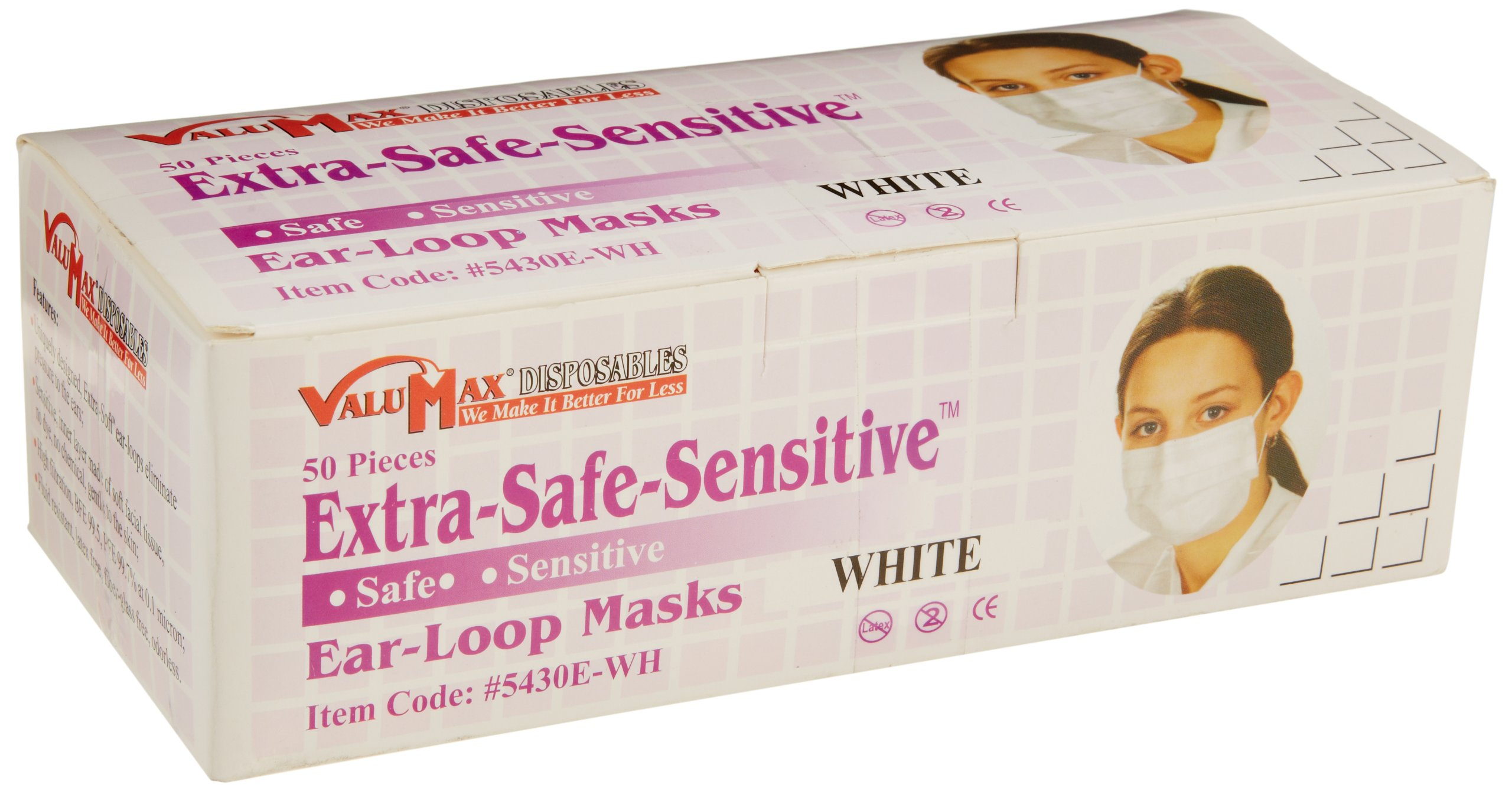 ValuMax 5430E-WH Extra-Safe-Sensitive Disposable Earloop Face Masks, Cellulose Inner Layer, High Filtration, White, Box of 50