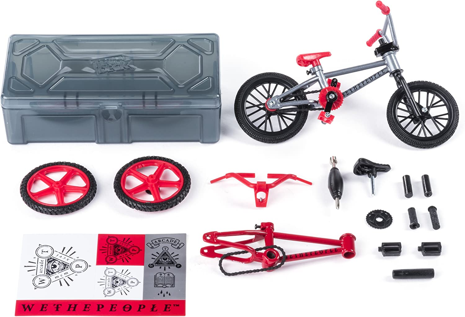 Amazon Com Tech Deck Bmx Bike Shop With Accessories And Storage Container Wethepeople Bikes Silver Red Toys Games