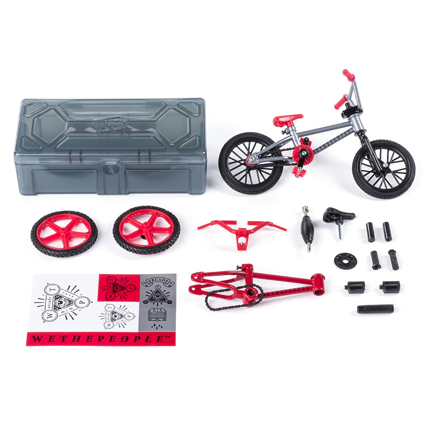 Tech Deck – BMX Bike Shop with Accessories and Storage Container – WeThePeople Bikes – Silver Red