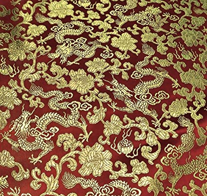 amazon com burgundy gold dragon floral brocade fabric 45 wide by