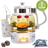 Teabloom Princess of Monaco Teapot & Blooming Tea Gift Set (6 Pieces) - Borosilicate Glass Teapot (34 oz / 1000 ml / 3-4…