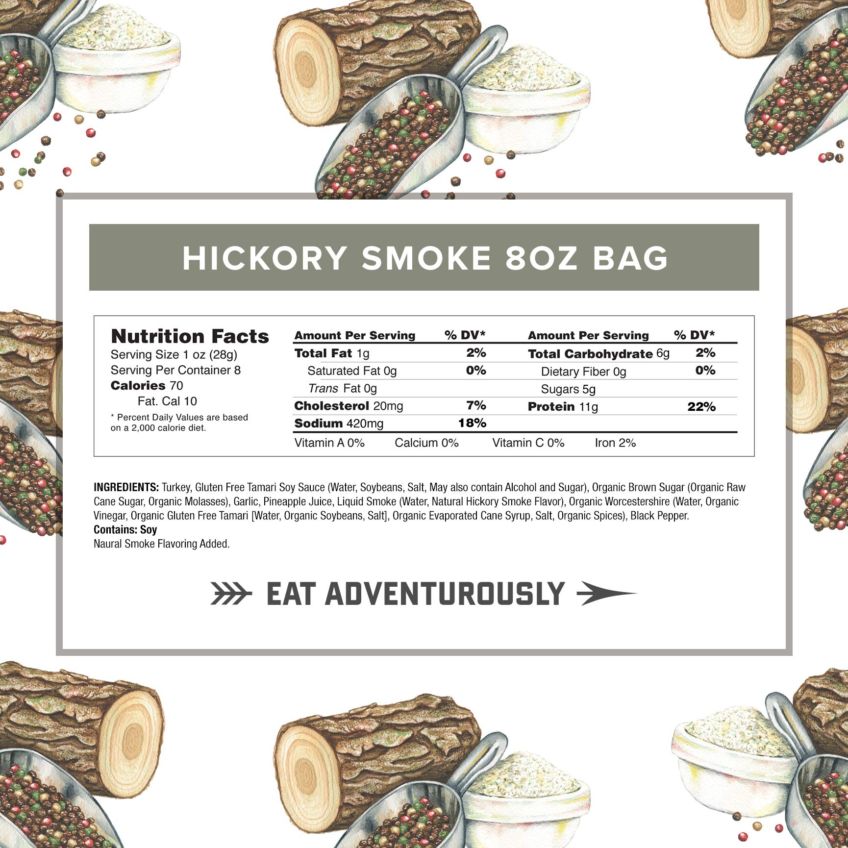Hickory Smoke Turkey Jerky by Country Archer | Antibiotic Free | Gluten Free | 8 Ounce by Country Archer (Image #3)