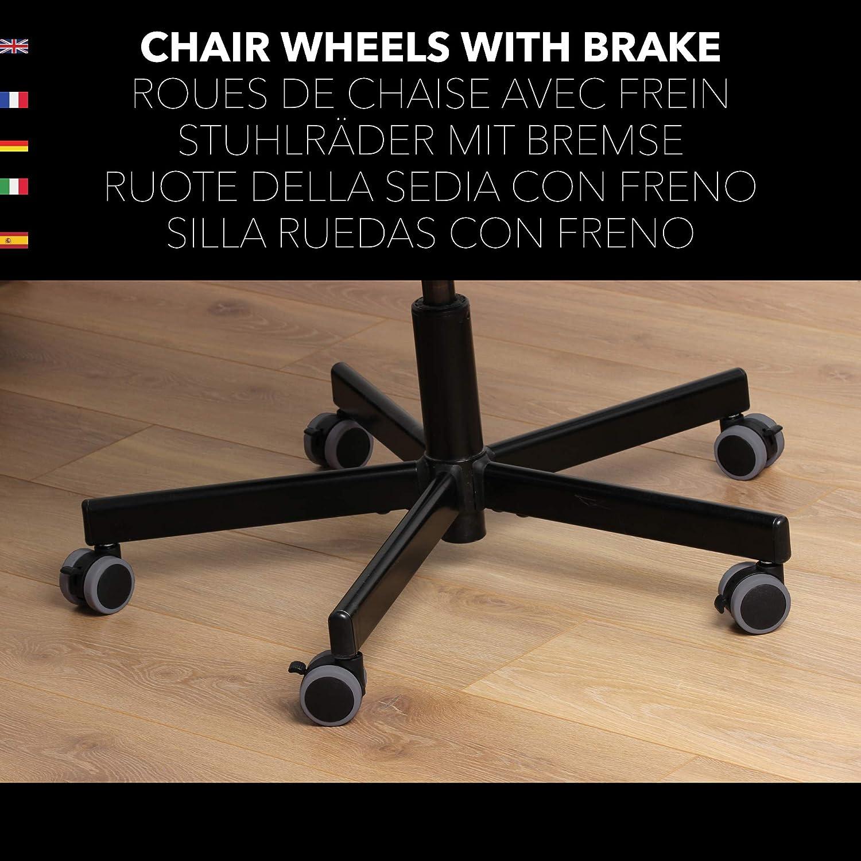 Fonctionne sur Tout Sol Anti-Abrasif Et Silencieux Gris fonc/é Takit Roulette de Chaise avec Frein 10mm x5 Compatible Chaise IKEA Nouveau