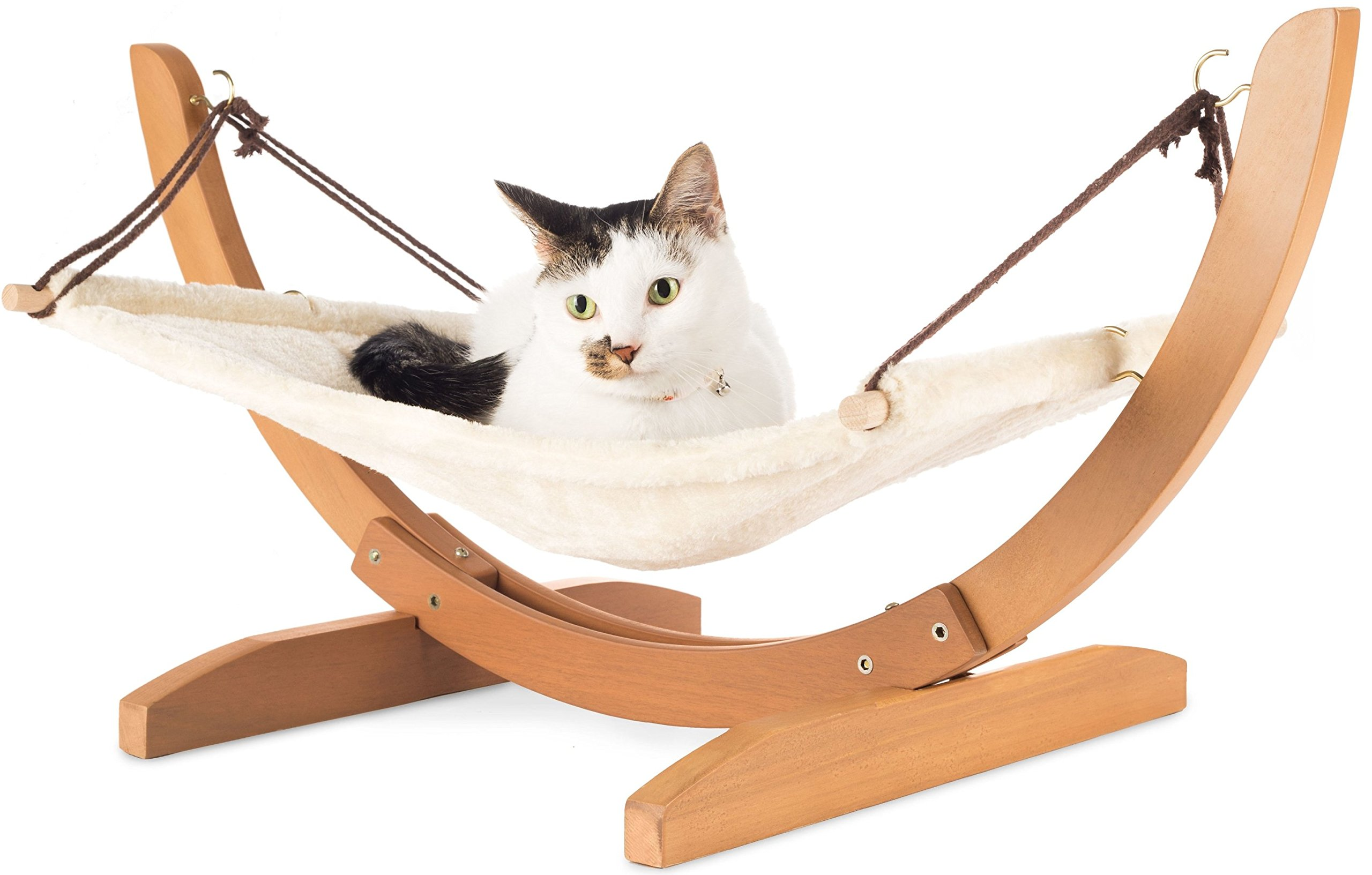Vea pets Luxury Cat Hammock - Large Soft Plush Bed - Holds Small to Medium Size Cat or Toy Dog | Anti Sway | Attractive & Sturdy Perch | Easy to Assemble | Wood Construction 1