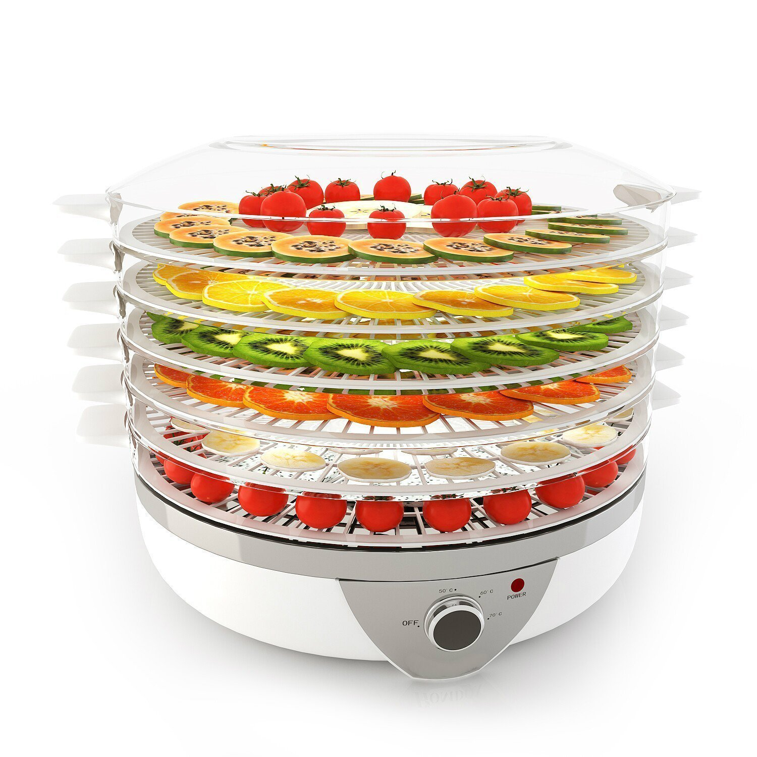 Meykey Food Dehydrator with Temperature Controller, Fruit-Meat Dryer, 5 Tray Digital Dehydrator, BPA-Free, 250W/LCD