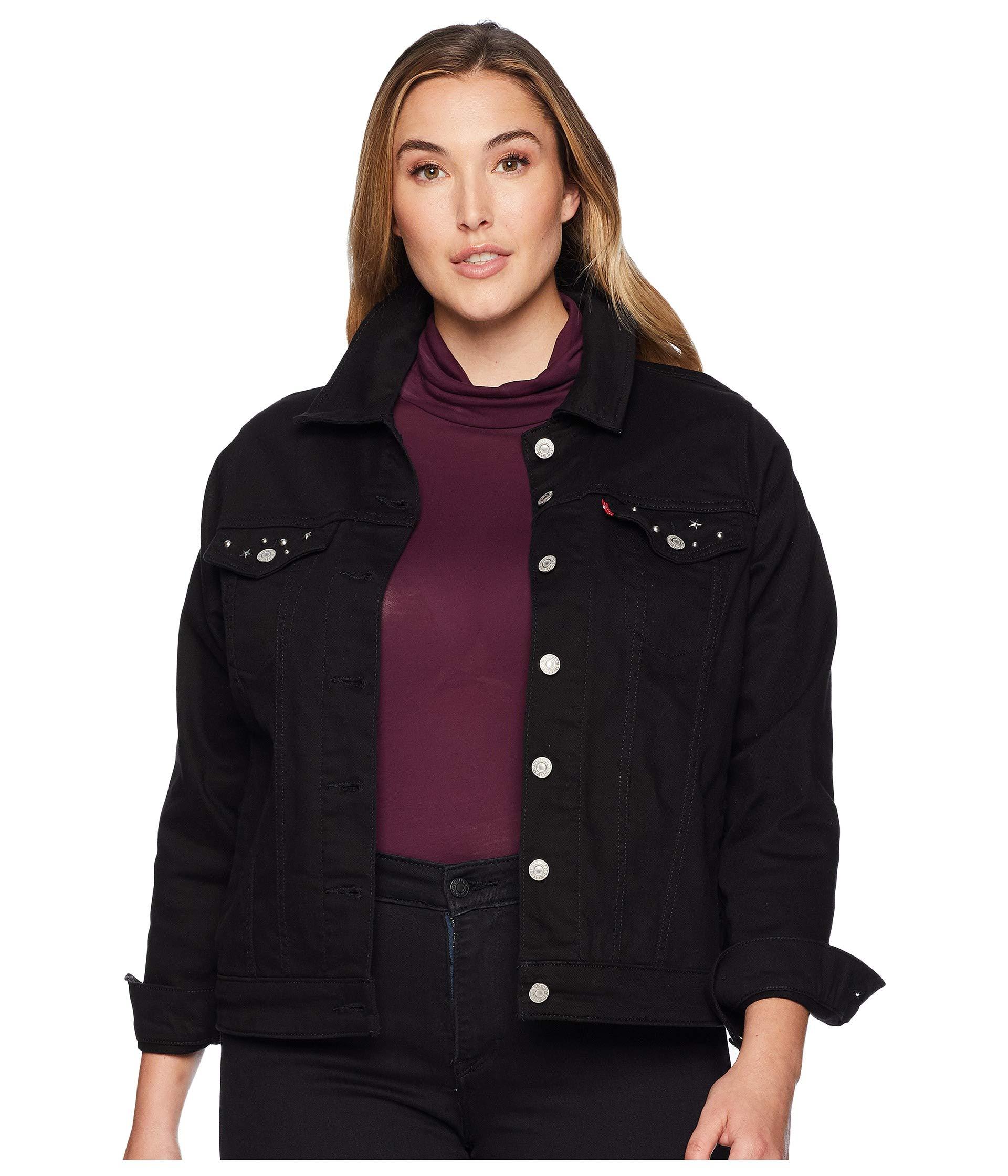 Levi's Women's Plus-Size Original Trucker Jackets, Soft Ultra Black, 3 X