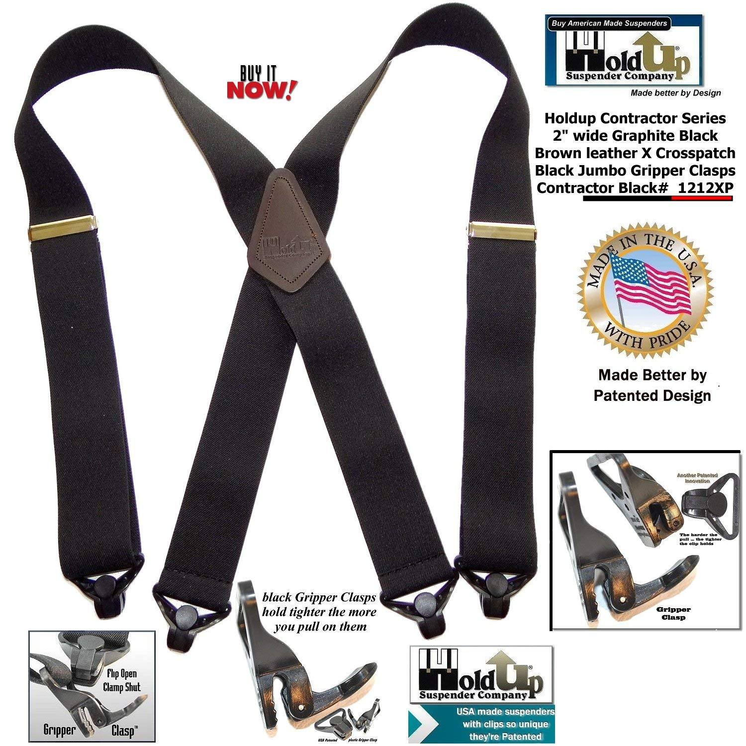 Holdup X-back Heavy Duty 2 Wide Graphite Black Suspenders with Patented jumbo Gripper Clasps