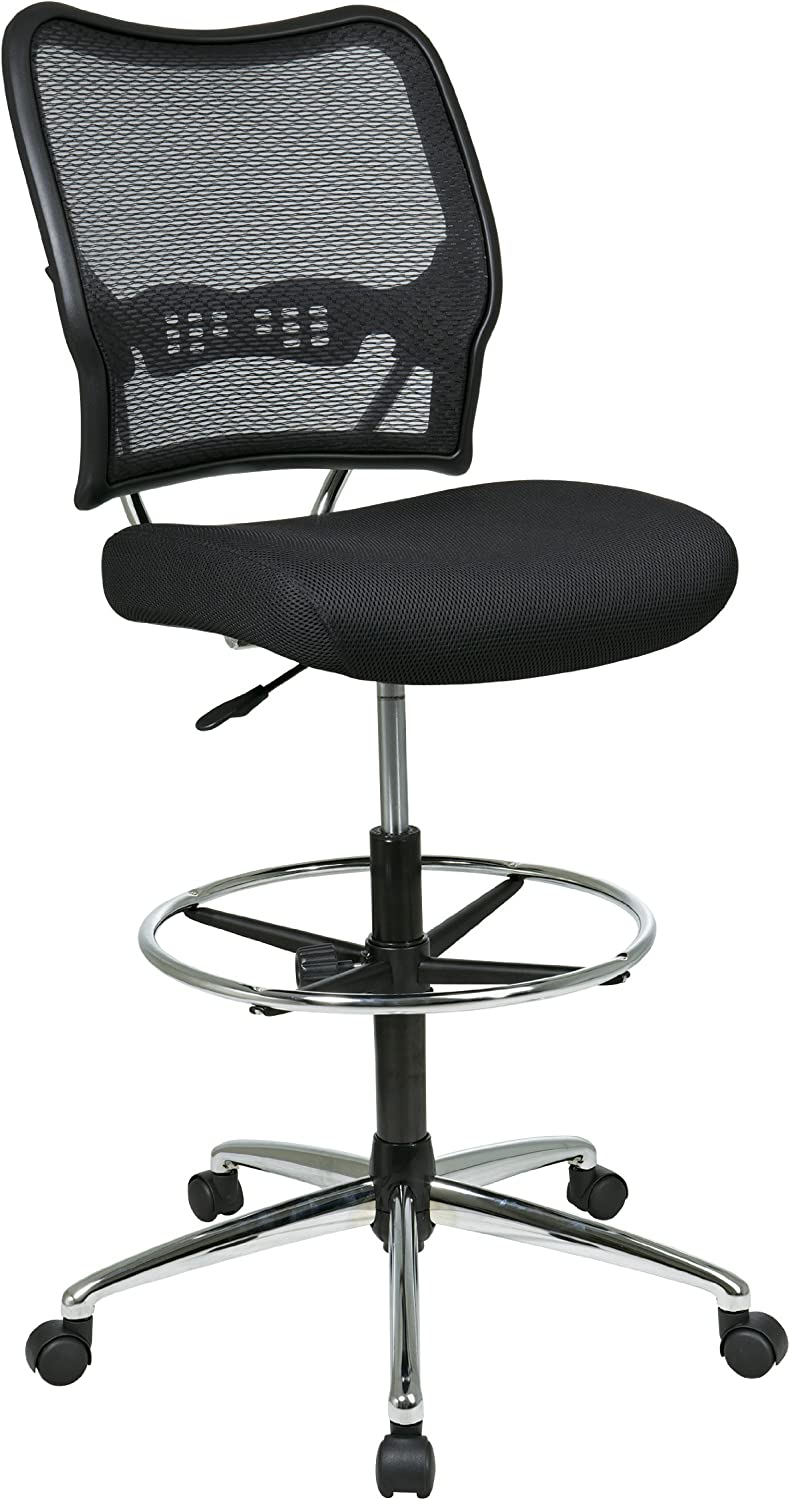 SPACE Seating Deluxe AirGrid Back with Mesh Seat, Adjustable Footring, Pneumatic Seat Height Adjustment and Chrome Finish Base Drafting Chair, Black