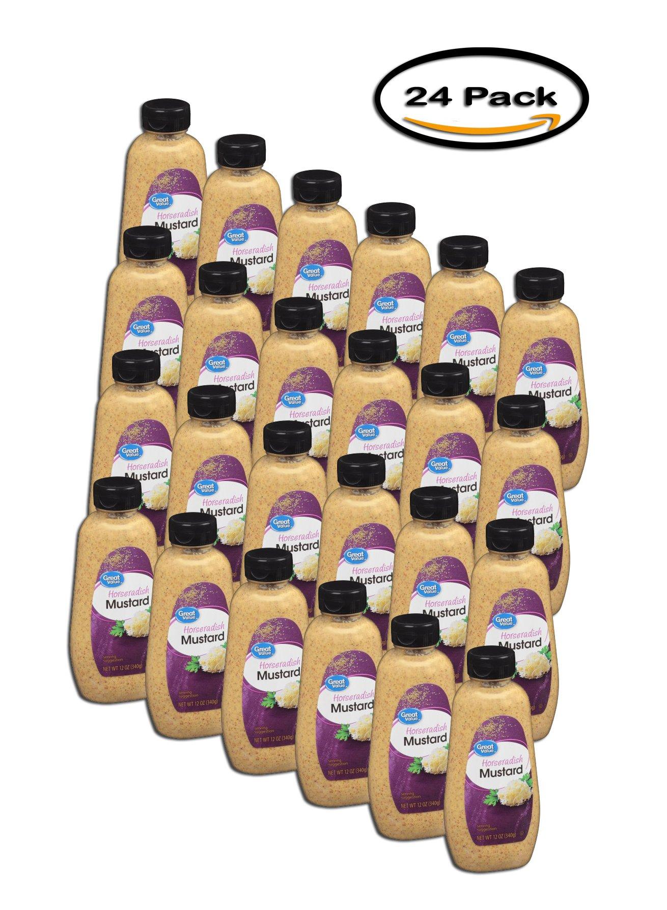 PACK OF 24 - Great Value All Natural Horseradish Mustard, 12 oz