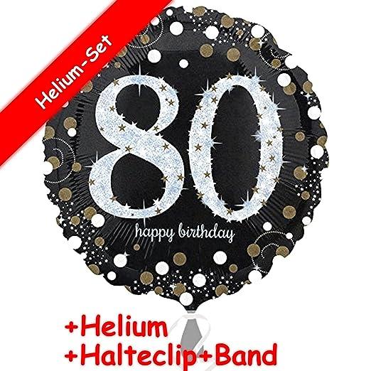 Carpeta Globo * Número 80 Happy Birthday + Helium Relleno + ...
