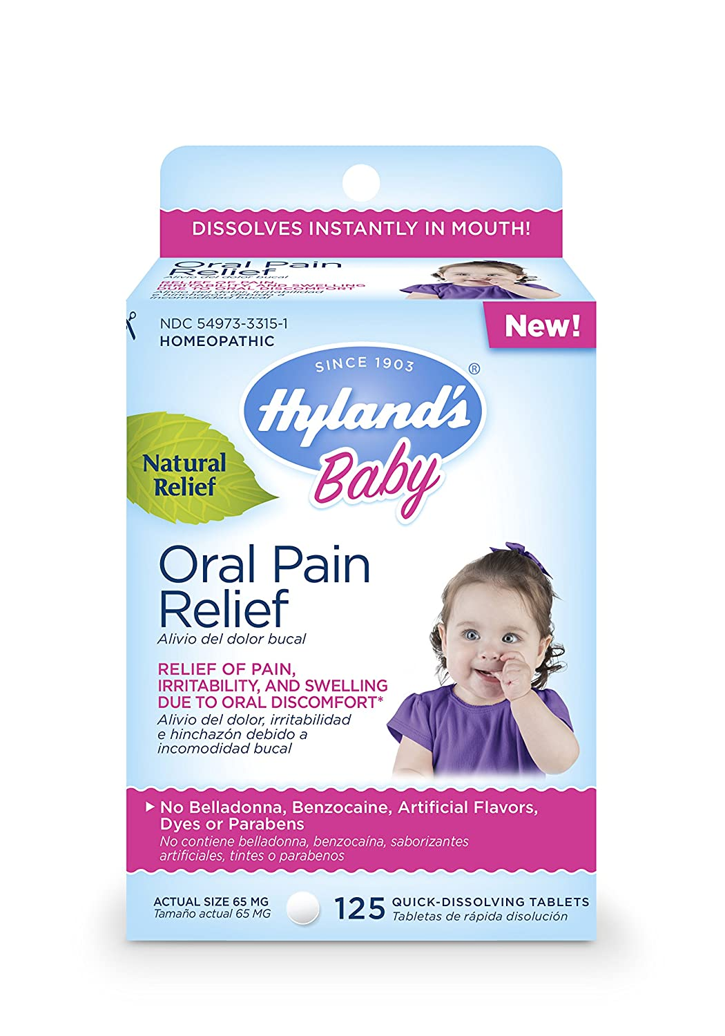 Hyland's Baby Oral Pain Relief Tablets, Soothing Natural Relief of Oral Discomfort, Irritability, and Swelling, 125 Count Hyland' s Inc