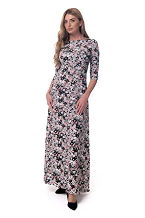 b33a0f06b00 Women s Half Sleeve Maxi Dress Casual Aline Floral Printed Long Loose  Dresses (Black Beige Pink