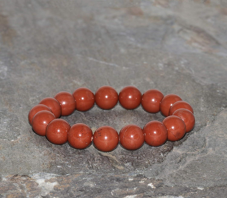 Pulsera de Jaspe Rojo de 10 mm de Grado AAA Hecho a mano con Cuentas Naturales de Jaspe Rojo Genuino Pulsera Unisex Pulsera Curativa Joyería de Piedras Preciosas para Mujer y Hombre