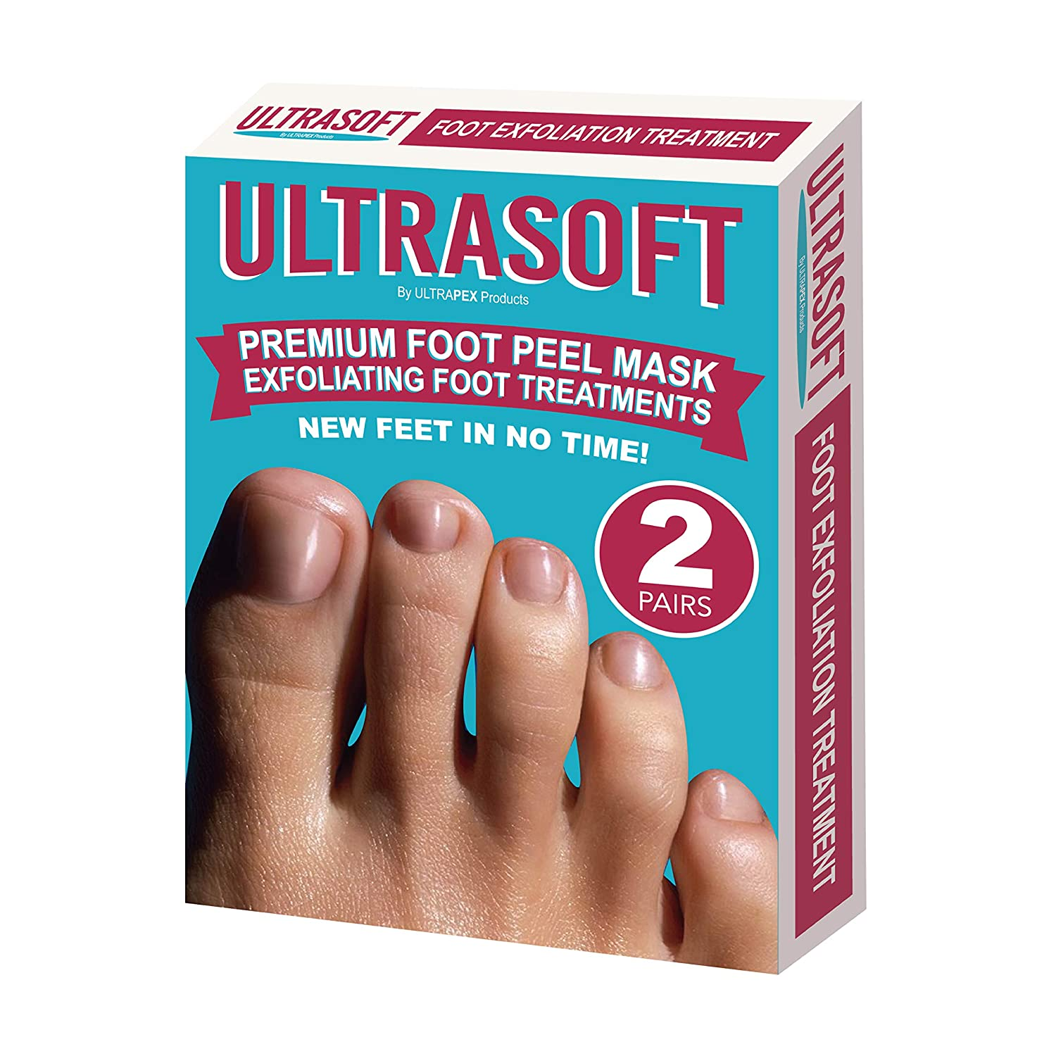 Foot Peel Mask by Ultrapex: 2-Pair Natural Exfoliating Foot Treatment Set for Men & Women - UltraSoft Dead Skin & Callus Remover Mask for Dry Skin & Rough Heels Treatment - Baby Soft Feet In 2 Weeks! Ultrapex Products
