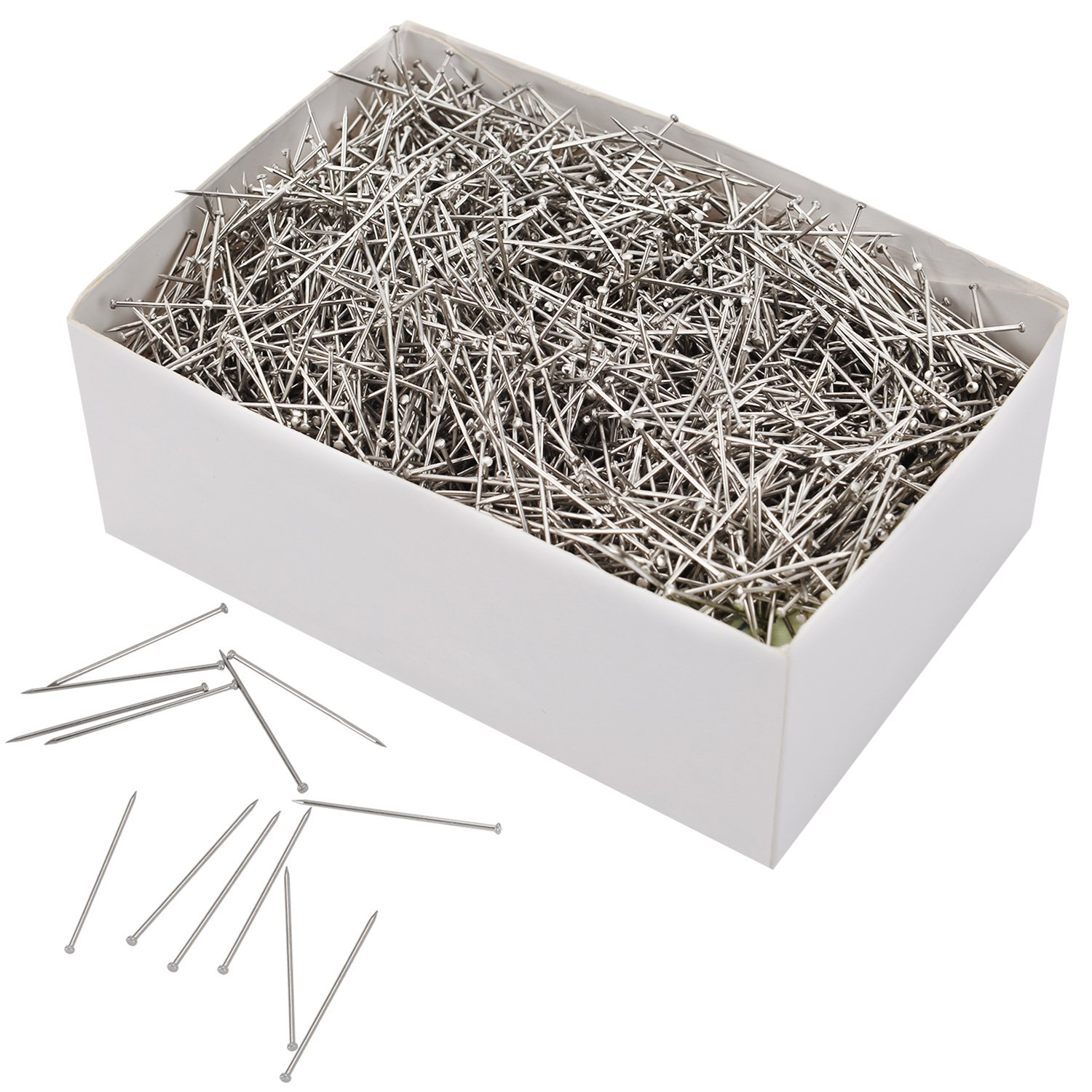 3500 Pieces Head Pins Fine Satin Pin Dressmaker Pins for Jewelry Making, Sewing and Craft, Nickel Plated, 26 mm Outus