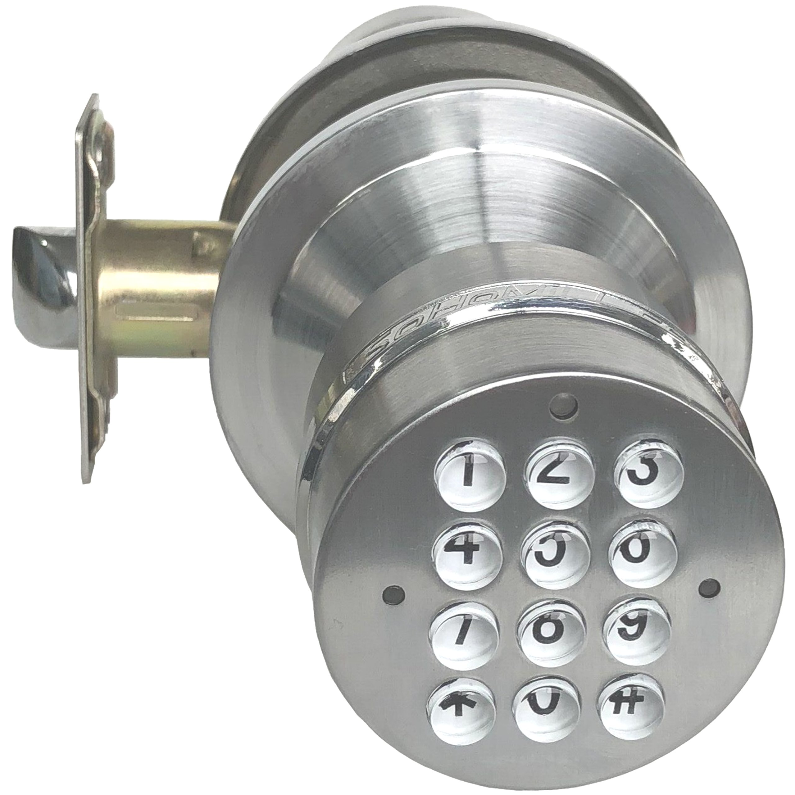 SoHoMiLL YL 99 Electronic Door Knob (Spring Latch LOCK; Not Smartphone Connected; Not Deadbolt), 2 3/8'' x 2 3/4'', Satin Nickel