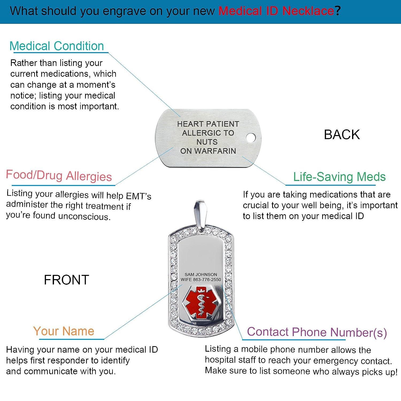 24 Stainless Station Bead Snake Chain Divoti Deep Custom Laser Engraved Sleek 316L Medical Alert Necklace