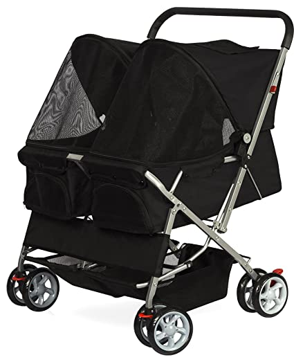 Double Dog Stroller - Pet Strollers for Small Medium Dogs Cats Two Doggy Puppy or 2 Kitty Cat Carriage Buggy
