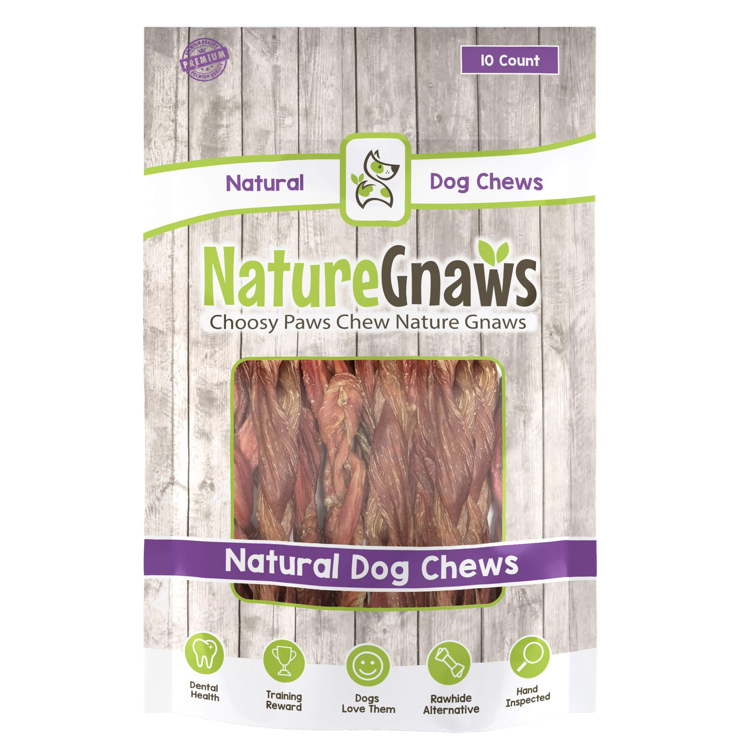 Nature Gnaws Braided Bladder Sticks 9-10'' (10 Count) - 100% Natural Beef Dog Chews by Nature Gnaws