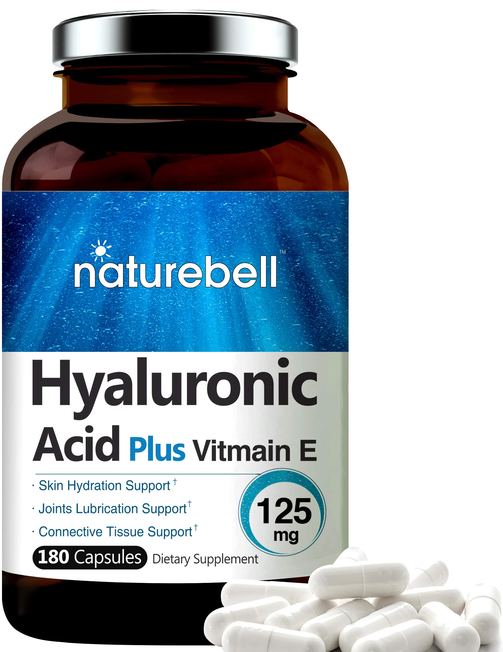 NatureBell Hyaluronic Acid with Vitamin E, 125mg,180 Capsules, Supports Antioxidant, Skin Hydration and Joints Lubrication, No GMOs.
