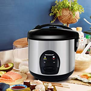 MOOSUM Mini Rice Cooker Small 5 Cups With Steamer Stainless Steel Asian Japanese Sushi Rice Brown Rice Long Rice Auto Warmer