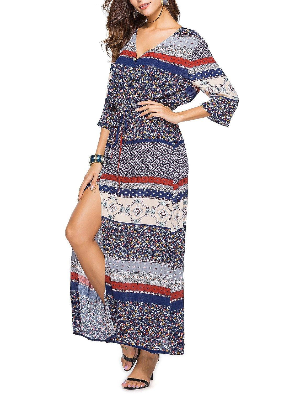 bluee Choies Women's Button Up Split Floral Print Summer Flowy Party Maxi Dress