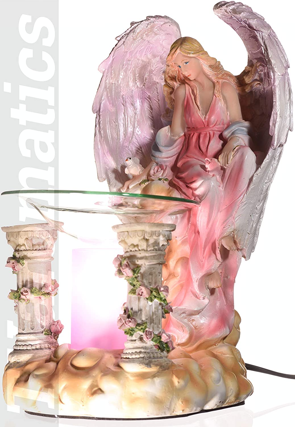 Pink Angel Polyresin Electric Aroma Lamp Oil and Wax Tart Warmer with Pink Cylinder