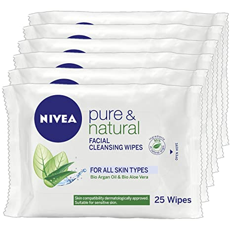 Nivea - Visage pure and natural, toallitas sin fragancia, pack de 6 (6x25ml