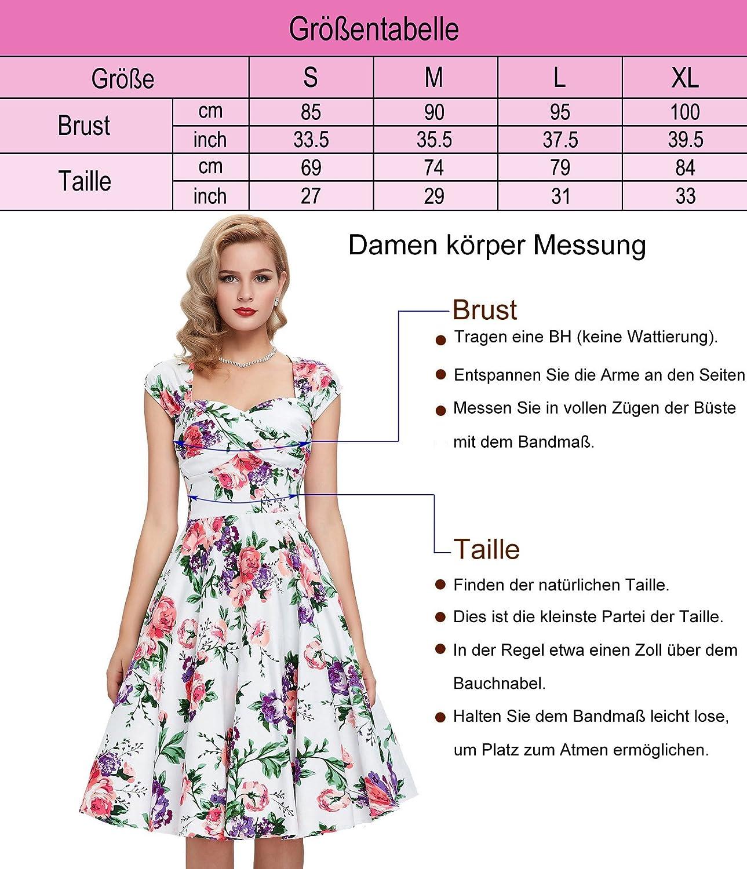 GRACE KARIN® Damen 50s Vintage Rockabilly Kleid Festliches Kleid ...