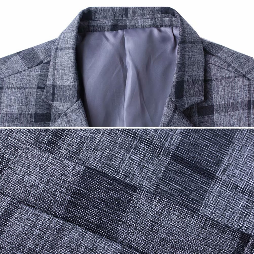 Men's Blazer Jacket Plaid Slim Fit Sport Coat One Button Notch Lapel Casual Business Coat Single Breasted Outwear by SUSIELADY (Image #3)